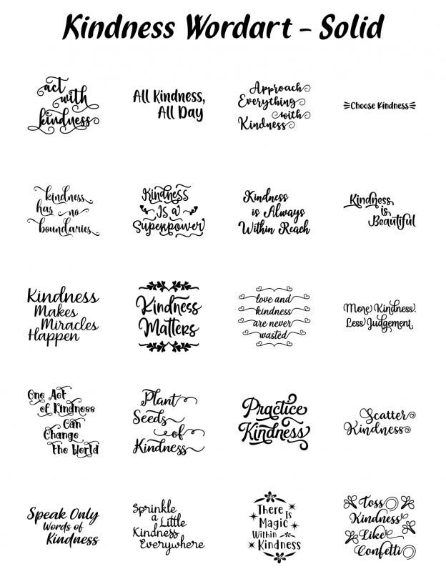 Zen PLR Typography Kindness Wordart Solid