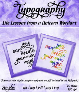Zen PLR Typography Life Lessons from a Unicorn Wordart Front Cover