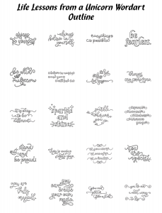 Zen PLR Typography Life Lessons from a Unicorn Wordart Outline