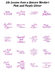 Zen PLR Typography Life Lessons from a Unicorn Wordart Pink and Purple Glitter