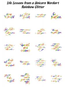 Zen PLR Typography Life Lessons from a Unicorn Wordart Rainbow Glitter