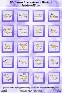 Zen PLR Typography Life Lessons from a Unicorn Wordart Rainbow Glitter Framed