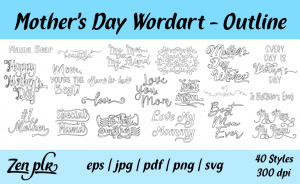 Zen PLR Typography Mother's Day Wordart Outline