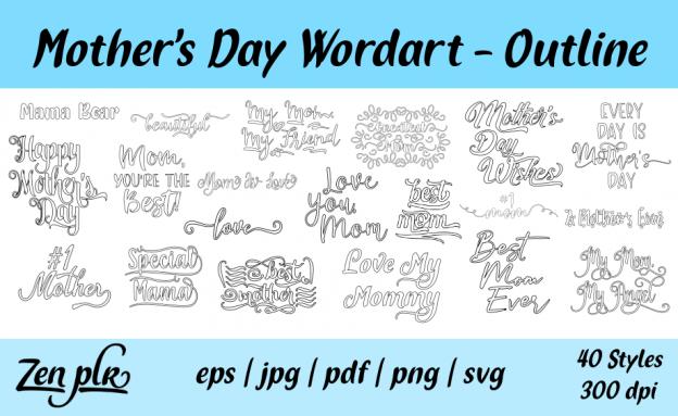 Zen PLR Typography Mother's Day Wordart Outline
