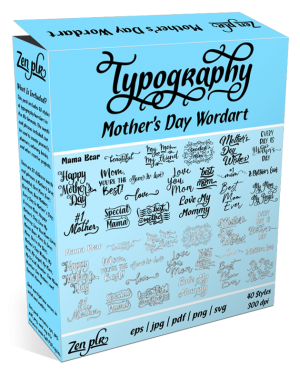 Zen PLR Typography Mother's Day Wordart Product Cover