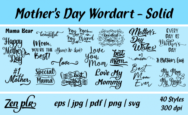 Zen PLR Typography Mother's Day Wordart Solid