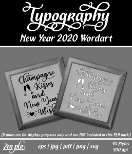 Zen PLR Typography New Year 2020 Wordart Front Cover