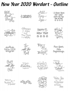 Zen PLR Typography New Year 2020 Wordart Outline
