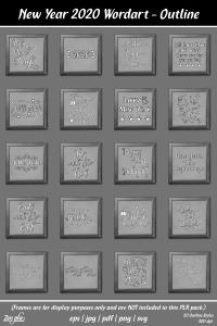 Zen PLR Typography New Year 2020 Wordart Outline Framed