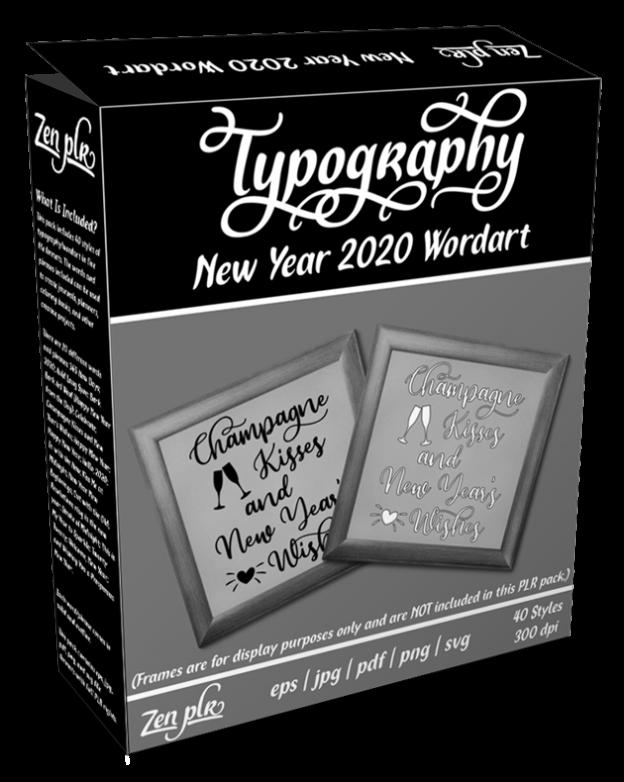Zen PLR Typography New Year 2020 Wordart Product Cover