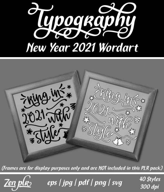 Zen PLR Typography New Year 2021 Wordart Front Cover
