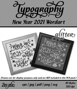 Zen PLR Typography New Year 2021 Wordart Glitter Front Cover