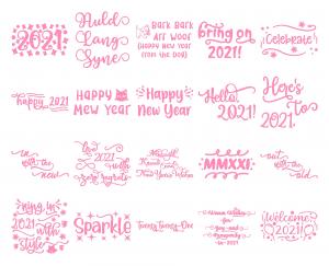Zen PLR Typography New Year 2021 Wordart Glitter Pink