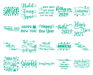 Zen PLR Typography New Year 2021 Wordart Glitter Turquoise