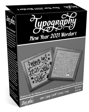 Zen PLR Typography New Year 2021 Wordart Product Cover