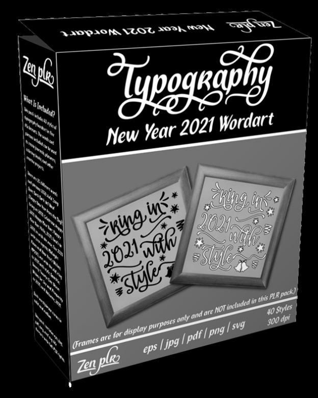 Zen PLR Typography New Year 2021 Wordart Product Cover