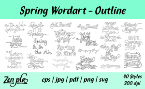 Zen PLR Typography Spring Wordart Outline