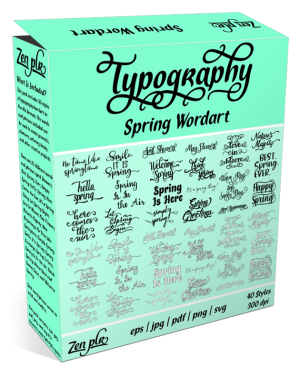 Zen PLR Typography Spring Wordart Product Cover