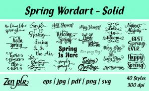 Zen PLR Typography Spring Wordart Solid
