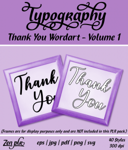 Zen PLR Typography Thank You Wordart Volume 1 Front Cover