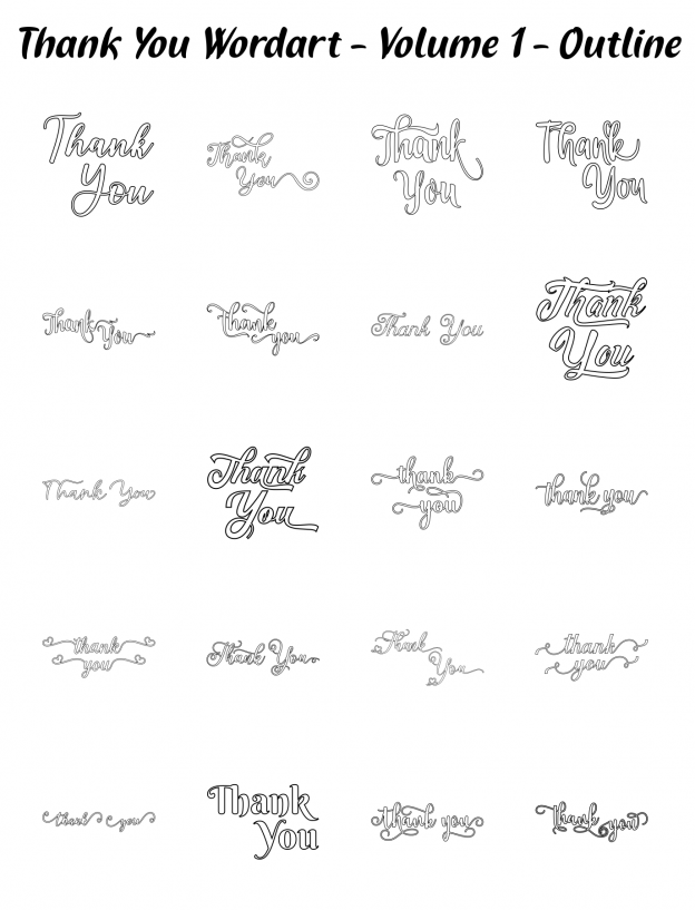 Zen PLR Typography Thank You Wordart Volume 1 Outline