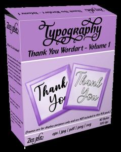 Zen PLR Typography Thank You Wordart Volume 1 Product Cover