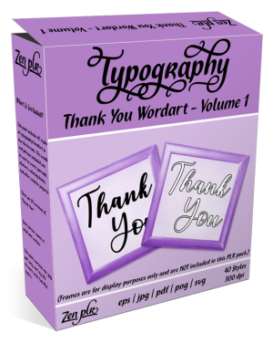 Zen PLR Typography Thank You Wordart Volume 1 Product Cover