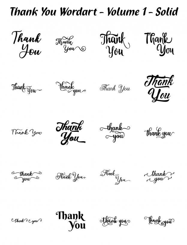 Zen PLR Typography Thank You Wordart Volume 1 Solid