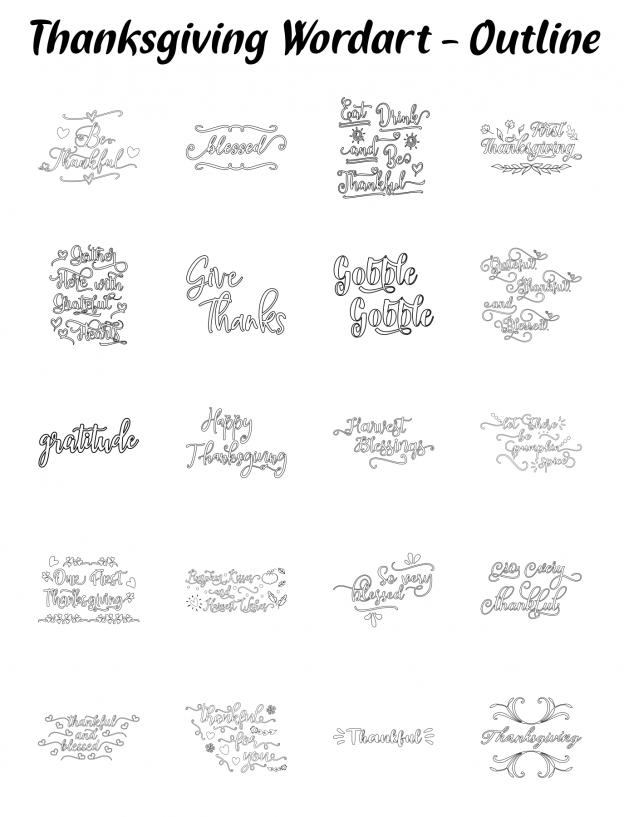 Zen PLR Typography Thanksgiving Wordart Outline