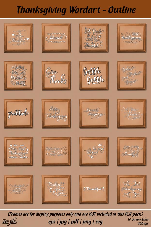 Zen PLR Typography Thanksgiving Wordart Outline Framed