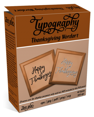 Zen PLR Typography Thanksgiving Wordart Product Cover