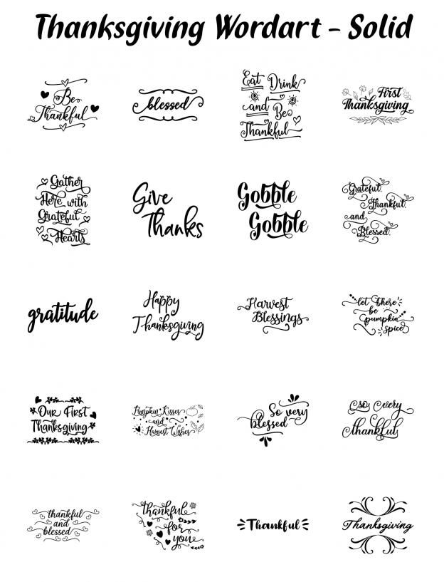 Zen PLR Typography Thanksgiving Wordart Solid