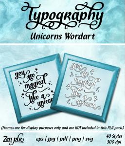 Zen PLR Typography Unicorn Wordart Front Cover