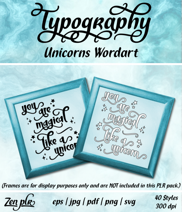 Zen PLR Typography Unicorn Wordart Front Cover