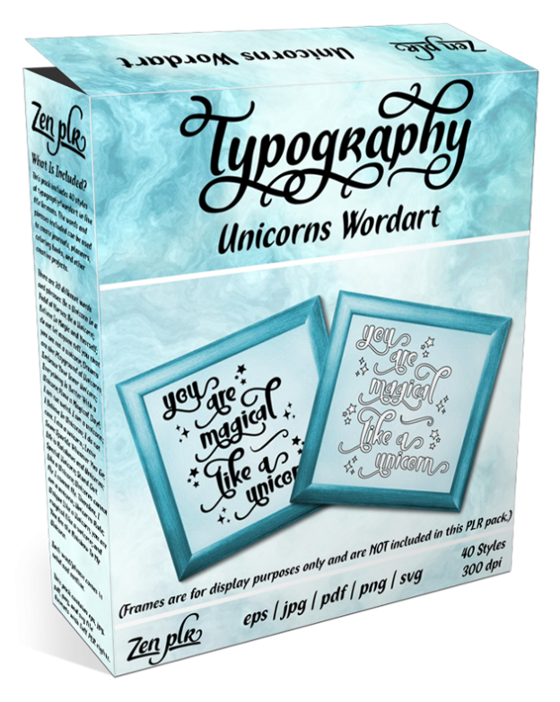 Zen PLR Typography Unicorn Wordart Product Cover