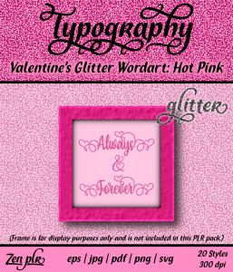 Zen PLR Typography Valentines Glitter Wordart Hot Pink Front Cover
