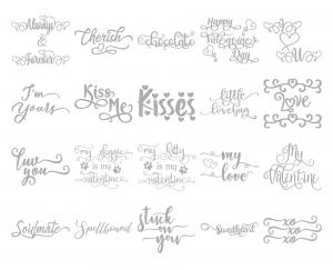 Zen PLR Typography Valentines Glitter Wordart Silver