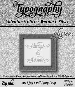 Zen PLR Typography Valentines Glitter Wordart Silver Front Cover