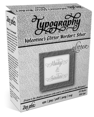 Zen PLR Typography Valentines Glitter Wordart Silver Product Cover