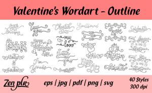 Zen PLR Typography Valentine's Wordart Outline