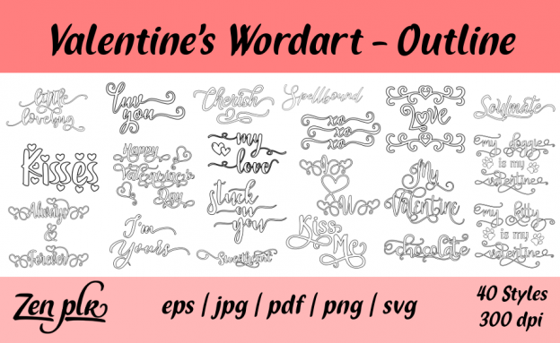 Zen PLR Typography Valentine's Wordart Outline