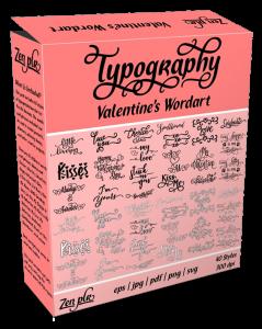 Zen PLR Typography Valentine's Wordart Product Cover