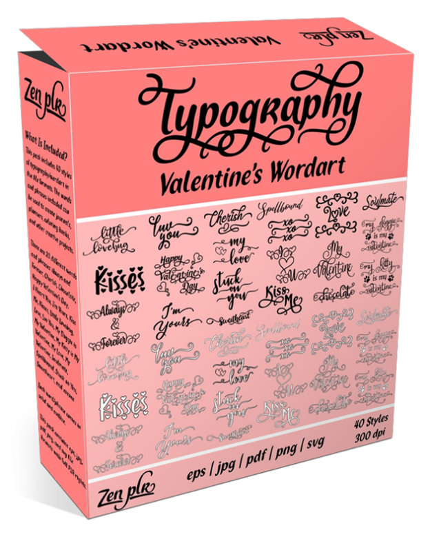 Zen PLR Typography Valentine's Wordart Product Cover