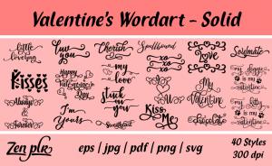 Zen PLR Typography Valentine's Wordart Solid