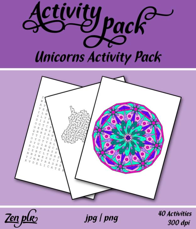 Zen PLR Unicorns Activity Pack Front Cover