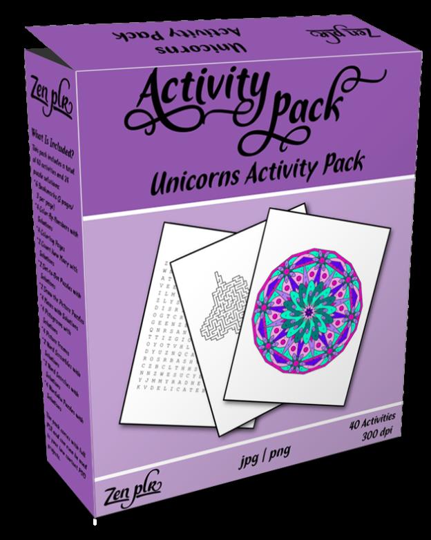 Zen PLR Unicorns Activity Pack Product Cover