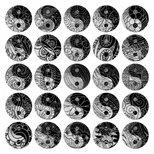 Zen PLR Yin and Yang Designs Grayscale All